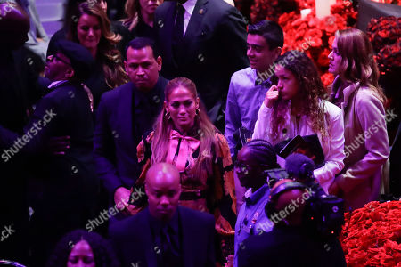 Jennifer Lopez and Alex Rodriguez leave after a celebration of life for Kobe Bryant and his daughter Gianna Monday, Feb. 24, 2020, in Los Angeles.
