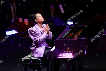 Alicia Keys reacts after performing during a celebration of life for Kobe Bryant and his daughter Gianna Monday, Feb. 24, 2020, in Los Angeles.