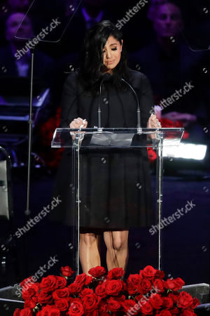 Vanessa Bryant speaks during a celebration of life for her husband Kobe Bryant and daughter Gianna Monday, Feb. 24, 2020, in Los Angeles. (AP Photo/Marcio Jose Sanchez)