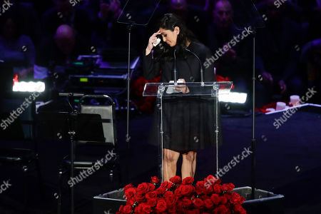 Stock Picture of Vanessa Bryant speaks during a celebration of life for her husband Kobe Bryant and daughter Gianna Monday, Feb. 24, 2020, in Los Angeles. (AP Photo/Marcio Jose Sanchez)