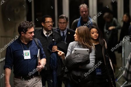 Variety reporter Elizabeth Wagmeister, right, and ABC news reporter Chris Franscescani leave the courtroom for the day during Harvey Weinstein's rape trial, in New York