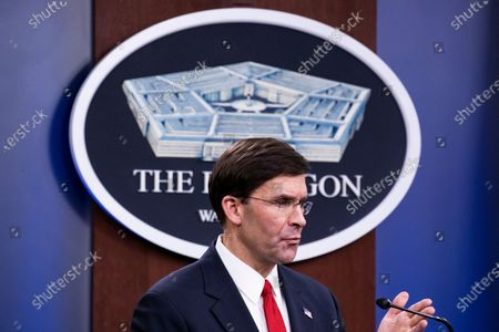 US Secretary of Defense Mark Esper participates in a joint news conference with Minister of National Defense of South Korea Jeong Kyeong-doo (not pictured) at the Pentagon in Arlington, Virginia, USA, 24 February 2020. The two meet at the Pentagon to discuss the bilateral cost-sharing deal, known as the Special Measures Agreement, as well as to discuss regional security and policy toward North Korea.