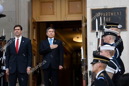 Mark Esper, Jeong Kyeong-doo. Secretary of Defense Mark Esper, left, hosts a ceremony to welcome South Korean National Defense Minister Jeong Kyeong-doo, right, to the Pentagon in Washington