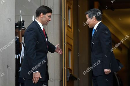 Mark Esper, Jeong Kyeong-doo. Secretary of Defense Mark Esper, left, hosts a ceremony to welcome South Korean National Defense Minister Jeong Kyeong-doo, right, at the Pentagon in Washington