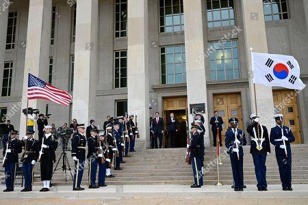 Mark Esper, Jeong Kyeong-doo. Secretary of Defense Mark Esper, center left, hosts a ceremony to welcome South Korean National Defense Minister Jeong Kyeong-doo, center right, at the Pentagon in Washington
