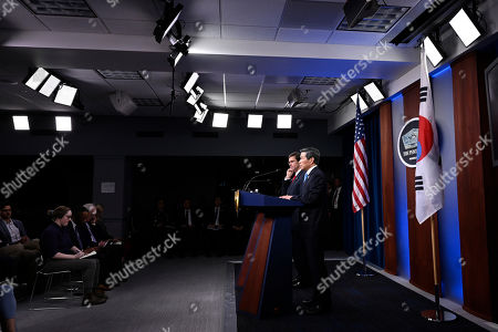 Mark Esper, Jeong Kyeong-doo. Defense Secretary Mark Esper, left, South Korean National Defense Minister Jeong Kyeong-doo, right, speak during a news conference at Pentagon in Washington