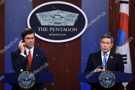 Mark Esper, Jeong Kyeong-doo. Defense Secretary Mark Esper, left, listens as South Korean National Defense Minister Jeong Kyeong-doo, right, speaks during a news conference at Pentagon in Washington