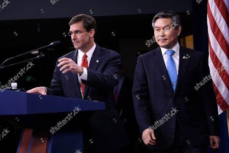 Mark Esper, Jeong Kyeong-doo. Defense Secretary Mark Esper, left, and South Korean National Defense Minister Jeong Kyeong-doo, right, arrive for a news conference at Pentagon in Washington