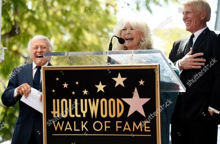 Connie Stevens, Tony Butala, Donovan Tea. Actress/singer Connie Stevens speaks at a ceremony to award pop vocal group The Lettermen a star on the Hollywood Walk of Fame, in Los Angeles. Looking on are original Lettermen member Tony Butala, left, and current member Donovan Tea