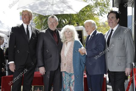 Stock Image of Donovan Tea, Rob Gulack, Connie Stevens, Tony Butala, Bobby Poynton of the group The Lettermen at a ceremony honoring them with the 2689th star on the Hollywood Walk of Fame in Los Angeles, California, USA, 24 February 2020. The star is dedicated in the category of Music.