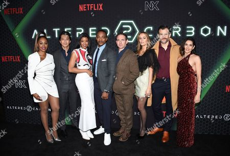 """Simone Missick, Will Yun Lee, Renée Elise Goldsberry, Anthony Mackie, Chris Conner, Dina Shihabi, Torben Liebrecht, Lela Loren. Actors, from left, Simone Missick, Will Yun Lee, Renée Elise Goldsberry, Anthony Mackie, Chris Conner, Dina Shihabi, Torben Liebrecht and Lela Loren pose together at Netflix's """"Altered Carbon"""" season 2 premiere at AMC Lincoln Square, in New York"""