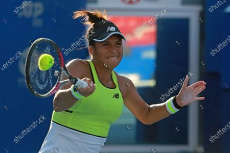 Heather Watson of Britain in action against Coco Vandeweghe of USA during Mexican Tennis Open tournament match in Acapulco, Mexico, 24 February 2020. The Open will run from 22 to 29 February 2020.