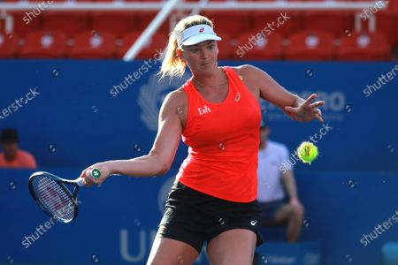 Stock Photo of Coco Vandeweghe of US returns in action against Heather Watson of Britain during Mexican Tennis Open tournament match in Acapulco, Mexico, 24 February 2020. The Open will run from 22 to 29 February 2020.
