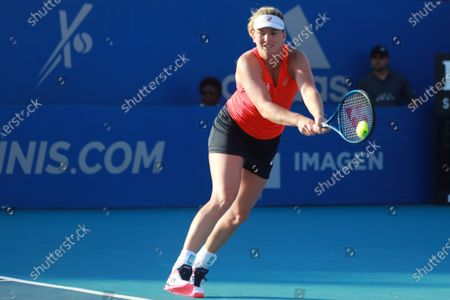 Coco Vandeweghe of US returns in action against Heather Watson of Britain during Mexican Tennis Open tournament match in Acapulco, Mexico, 24 February 2020. The Open will run from 22 to 29 February 2020.