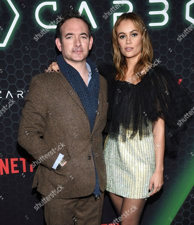 """Chris Conner, Dina Shihabi. Actors Chris Conner, left, and Dina Shihabi attend Netflix's """"Altered Carbon"""" season 2 premiere at AMC Lincoln Square, in New York"""