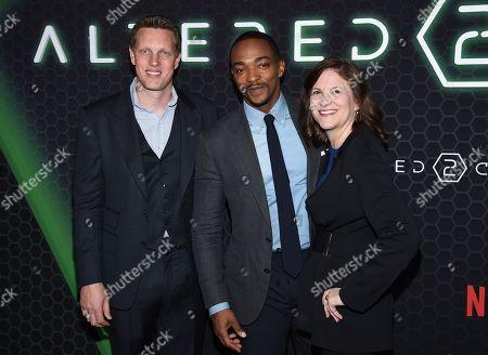 "Stock Picture of David Ellison, Anthony Mackie, Dana Goldberg. Skydance Media CEO David Ellison, left, actor Anthony Mackie and Skydance Productions CCO Dana Goldberg attend Netflix's ""Altered Carbon"" season 2 premiere at AMC Lincoln Square, in New York"