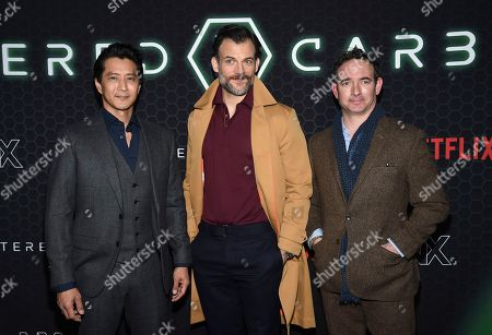 "Will Yun Lee, Torben Liebrecht, Chris Conner. Actors Will Yun Lee, left, Torben Liebrecht and Chris Conner pose together at Netflix's ""Altered Carbon"" season 2 premiere at AMC Lincoln Square, in New York"