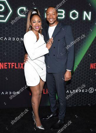 "Simone Missick, Dorian Missick. Actors Simone Missick, left, and husband Dorian Missick attend Netflix's ""Altered Carbon"" season 2 premiere at AMC Lincoln Square, in New York"