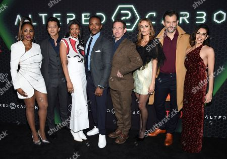 "Simone Missick, Will Yun Lee, Ren'e Elise Goldsberry, Anthony Mackie, Chris Conner, Dina Shihabi, Torben Liebrecht, Lela Loren. Actors Simone Missick, left, Will Yun Lee, Renée Elise Goldsberry, Anthony Mackie, Chris Conner, Dina Shihabi, Torben Liebrecht and Lela Loren attend Netflix's ""Altered Carbon"" season 2 premiere at AMC Lincoln Square, in New York"