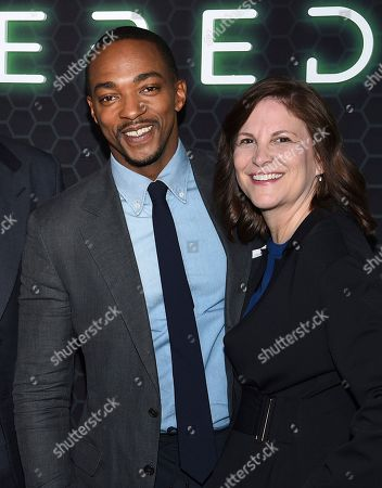 """Anthony Mackie, Dana Goldberg. Actor Anthony Mackie, left, and Skydance Productions CCO Dana Goldberg attend Netflix's """"Altered Carbon"""" season 2 premiere at AMC Lincoln Square, in New York"""