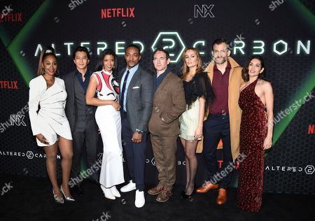 "Simone Missick, Will Yun Lee, Renée Elise Goldsberry, Anthony Mackie, Chris Conner, Dina Shihabi, Torben Liebrecht, Lela Loren. Actors Simone Missick, left, Will Yun Lee, Renée Elise Goldsberry, Anthony Mackie, Chris Conner, Dina Shihabi, Torben Liebrecht and Lela Loren attend Netflix's ""Altered Carbon"" season 2 premiere at AMC Lincoln Square, in New York"
