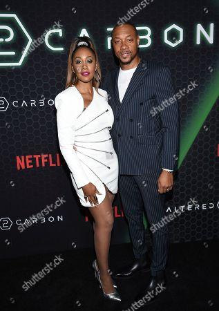 "Simone Missick, Dorian Missick. Actors Simone Missick, left, and Dorian Missick attend Netflix's ""Altered Carbon"" season 2 premiere at AMC Lincoln Square, in New York"