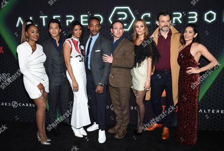 "Simone Missick, Will Yun Lee, Ren'e Elise Goldsberry, Anthony Mackie, Chris Conner, Dina Shihabi, Torben Liebrecht, Lela Loren. Actors, from left, Simone Missick, Will Yun Lee, Renée Elise Goldsberry, Anthony Mackie, Chris Conner, Dina Shihabi, Torben Liebrecht and Lela Loren pose together at Netflix's ""Altered Carbon"" season 2 premiere at AMC Lincoln Square, in New York"