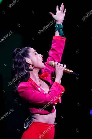 Francisca Valenzuela performs during the second night of Vina del Mar Song Festival, in Vina del Mar, Chile, late 24 February 2020.