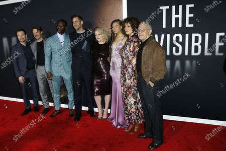 Leigh Whannell, Michael Dorman, Aldis Hodge, Oliver Jackson-Cohen, Elisabeth Moss, Storm Reid, Donna Langley and Ron Meyer arrive for the premiere of the film 'The Invisible Man' at the TCL Chinese Theatre IMAX in Hollywood, California, USA, 24 February 2020. The movie opens in the USA on 28 February 2020.