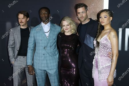 Michael Dorman, Aldis Hodge, Elisabeth Moss, Oliver Jackson-Cohen and Storm Reid arrive for the premiere of the film 'The Invisible Man' at the TCL Chinese Theatre IMAX in Hollywood, California, USA, 24 February 2020. The movie opens in the USA on 28 February 2020.