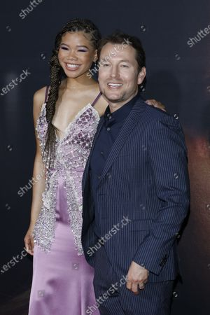 Storm Reid (L) and Australian  writer/director Leigh Whannell (R) arrive for the premiere of the film 'The Invisible Man' at the TCL Chinese Theatre IMAX in Hollywood, California, USA, 24 February 2020. The movie opens in the USA on 28 February 2020.