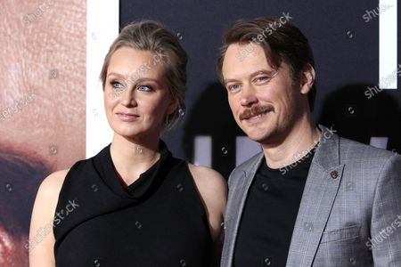Tessa Richardson Dorman (L) and her husband New Zealand actor Michael Dorman (R) arrive for the premiere of the film 'The Invisible Man' at the TCL Chinese Theatre IMAX in Hollywood, California, USA, 24 February 2020. The movie opens in the USA on 28 February 2020.
