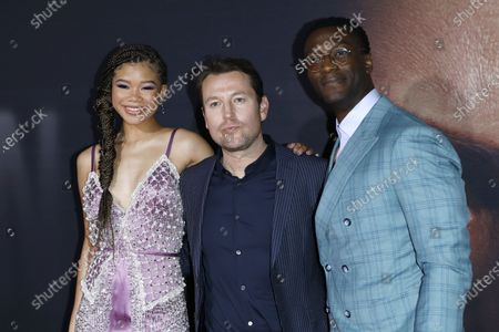 Storm Reid (L), Australian writer/director Leigh Whannell (C) and US actor Aldis Hodge (R) arrive for the premiere of the film 'The Invisible Man' at the TCL Chinese Theatre IMAX in Hollywood, California, USA, 24 February 2020. The movie opens in the USA on 28 February 2020.