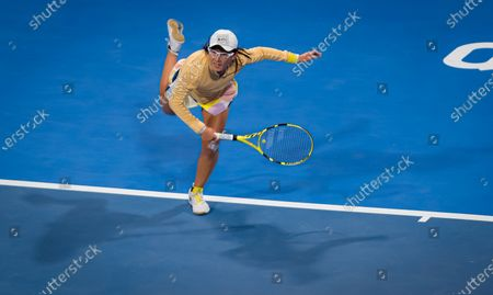 Saisai Zheng of China in action during her third-round match at the 2020 Qatar Total Open WTA Premier 5 tennis tournament
