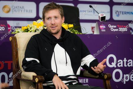 Tom Hill, coach of Maria Sakkari, talks to the media at the 2020 Qatar Total Open WTA Premier 5 tennis tournament