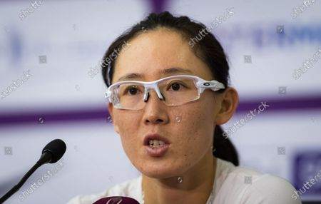 Saisai Zheng of China talks to the media after winning her her third-round match at the 2020 Qatar Total Open WTA Premier 5 tennis tournament