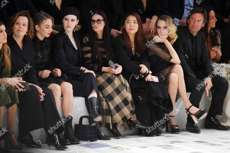 Sigourney Weaver, Maya Thurman Hawke, Rachel Brosnahan, Demi Moore, Cara Delevingne and Karlie Kloss in the front row