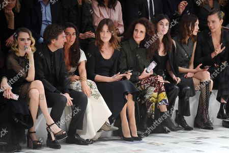 Cara Delevingne, Carla Bruni-Sarkozy, Andie MacDowell, Alexa Chung, Rainey Qualley and Karlie Kloss in the front row