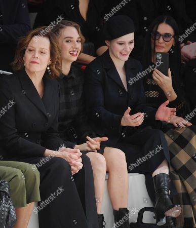 Stock Image of Sigourney Weaver, Maya Thurman Hawke, Rachel Brosnahan and Cara Delevingne in the front row