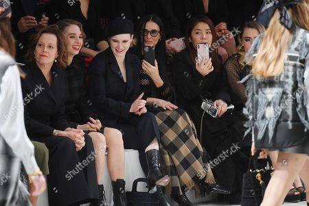 Sigourney Weaver, Maya Thurman Hawke, Rachel Brosnahan and Cara Delevingne in the front row