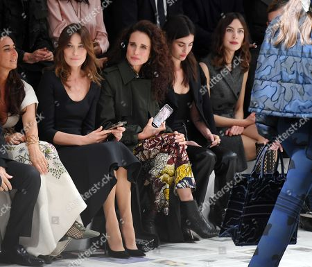 Carla Bruni-Sarkozy, Andie MacDowell, Rainey Qualley and Alexa Chung in the front row