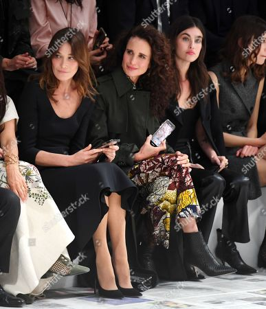 Carla Bruni-Sarkozy, Andie MacDowell and Rainey Qualley in the front row