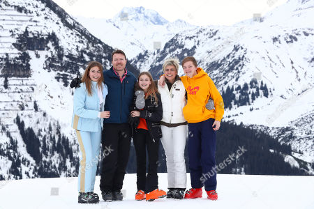 Count Claus-Casimir, Countess Eloise, Princess Laurentien, Countess Leonore and Prince Constantijn pose during a photo session in the Austrian skiing resort of Lech, Austria