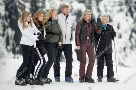 The Dutch royal family, with (L-R) Princess Ariane, Princess Alexia, Crown Princess Amalia, King Willem-Alexander, Queen Maxima and former Queen Beatrix, poses during a photo shoot at the start of their private winter vacation in Lech am Arlberg, Austria, 25 February 2020.