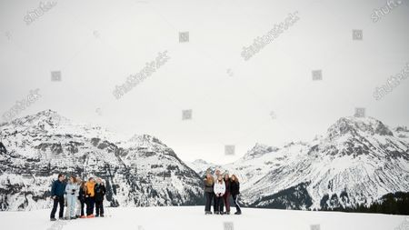 The Dutch royal family, with King Willem-Alexander (C-L) and Queen Maxima (C-R) and their daughters, Crown Princess Amalia and Princesses Ariana and Alexia, pose during their annual photo session ahead of their private winter vacation in Lech am Arlberg, Austria, 25 February 2020.