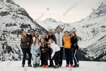 The Dutch Royal family, with (L-R) Crown Princess Amalia, Prince Constantijn, Princess Laurentien, Countess Eloise, Countess Leonore, former Queen Beatrix, Queen Maxima, Princess Ariane, King Willem-Alexander, Count Claus-Casimir and Princess Alexia, poses for photographs during their annual photo session ahead of their private winter vacation in Lech am Arlberg, Austria, 25 February 2020.