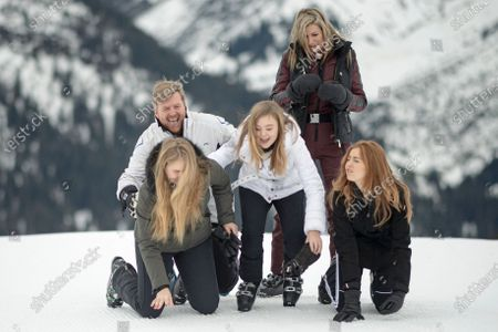 Stock Picture of The Dutch Royal family, with (L-R) Crown Princess Amalia, King Willem-Alexander, Princess Ariane, Queen Maxima and Princess Alexia, during their annual photo session ahead of their private winter vacation in Lech am Arlberg, Austria, 25 February 2020.