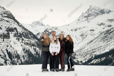 The Dutch Royal family, with (L-R) Crown Princess Amalia, King Willem-Alexander, Princess Ariane, Queen Maxima and Princess Alexia, poses during their annual photo session ahead of their private winter vacation in Lech am Arlberg, Austria, 25 February 2020.