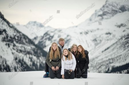 Stock Image of The Dutch Royal family, with (L-R) Crown Princess Amalia, King Willem-Alexander, Princess Ariane, Queen Maxima and Princess Alexia, poses during their annual photo session ahead of their private winter vacation in Lech am Arlberg, Austria, 25 February 2020.