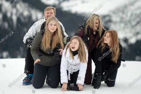 The Dutch Royal family, with Crown Princess Amalia (L, front), Princess Ariana (C, front), King Willem-Alexander (L, back), Queen Maxima (2-R) and Princess Alexia (R), poses for photographs during their annual photo session ahead of their private winter vacation in Lech am Arlberg, Austria, 25 February 2020.